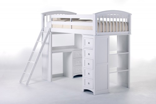 School House Student Loft Bed - White