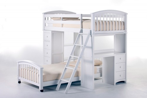 SchoolHouse Student Loft Bed with Twin Lower Bed - White