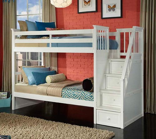School House Stair Bunk Bed - White Finish