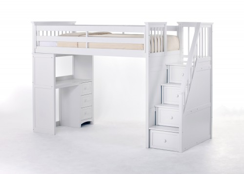 SchoolHouse Stair Loft Bed with Desk End - White