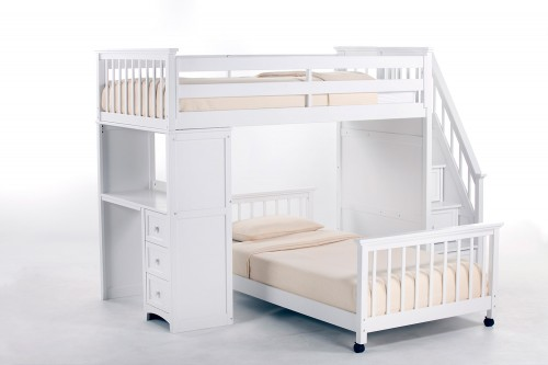 School House Twin Stair Loft Bed with Desk End and Full Lower Bed - White