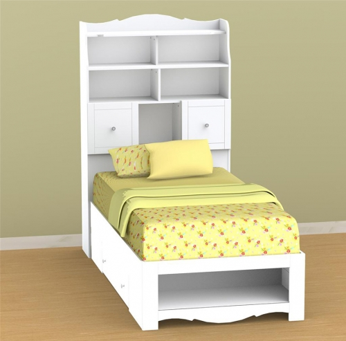 Pixel Youth Twin Tall Bookcase Storage Bed