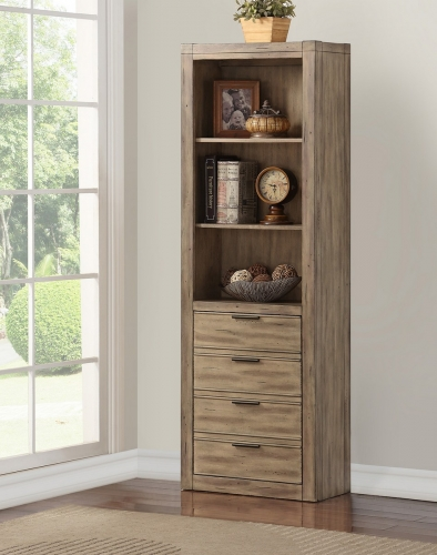Brighton Bookcase with Door - Antique Vintage Muslin