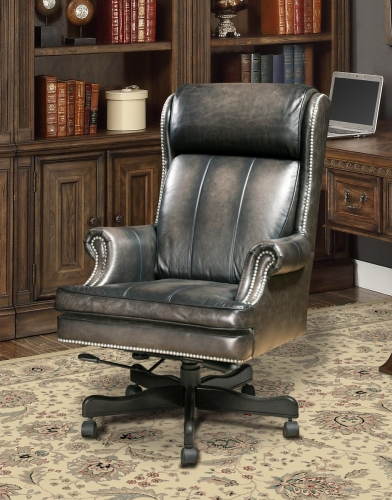 Prestige DC-105-SM Leather Desk Chair - Smoke Wipe