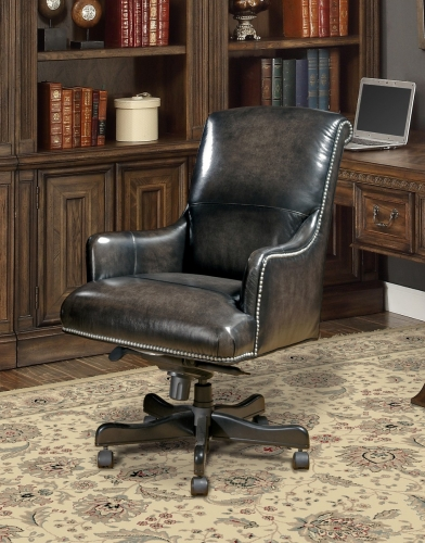 Prestige DC-106-SM Leather Desk Chair - Smoke Wipe