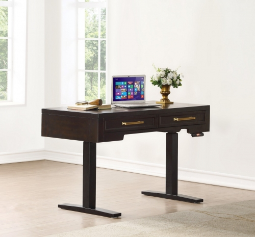 Greenwich 48-inch Power Lift Desk - Dark Walnut