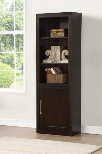 Greenwich Bookcase with Door - Dark Walnut