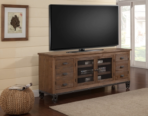LaPaz 76-inch Console with wheels - Rustic Worn Pine