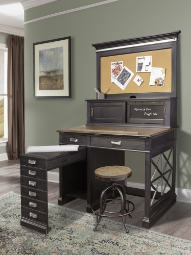 Lincoln Park Architects Desk with Hutch - Vintage Ash
