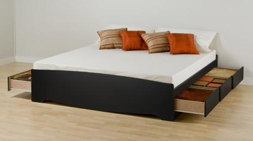 Mate's Platform Storage Bed with 6 Drawers - Black