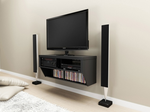 42 Inch Wide Wall Mounted Audio/Video Console - Black