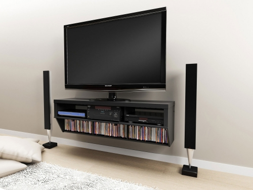 58 Inch Wide Wall Mounted Audio/Video Console - Black