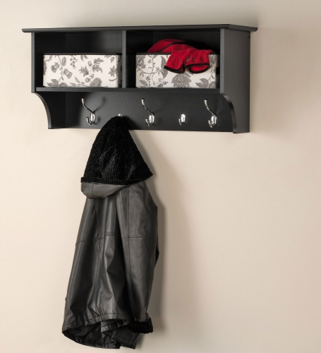 36 Inch Wide Hanging Entryway Shelf - Black