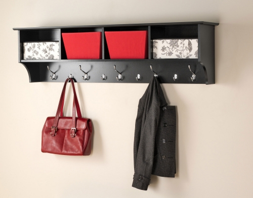 60 Inch Wide Hanging Entryway Shelf - Black
