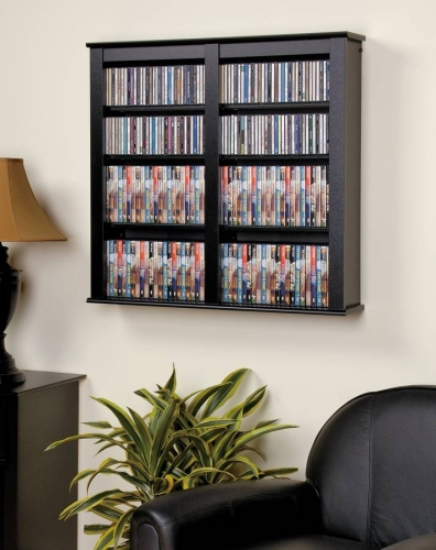 Black Double Floating Wall Storage