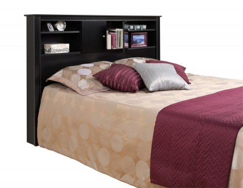 Kallisto Bookcase Headboard with Doors - Black