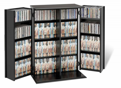 Locking Media Storage Cabinet with Shaker Doors - Black