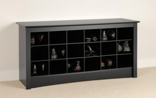 Shoe Storage Cubbie Bench - Black