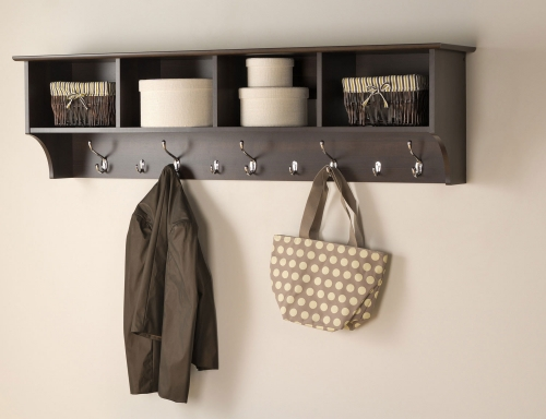 60 Inch Wide Hanging Entryway Shelf - Espresso