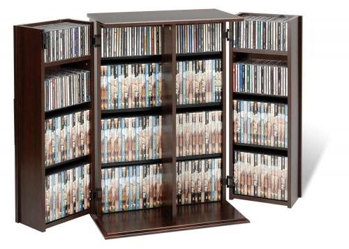 Locking Media Storage Cabinet with Shaker Doors - Espresso
