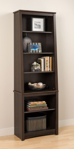Tall Slant-Back Bookcase - Espresso