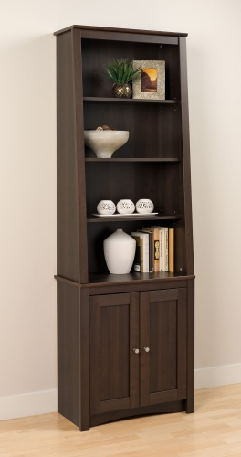 Tall Slant-Back Bookcase with 2 Shaker Doors - Espresso