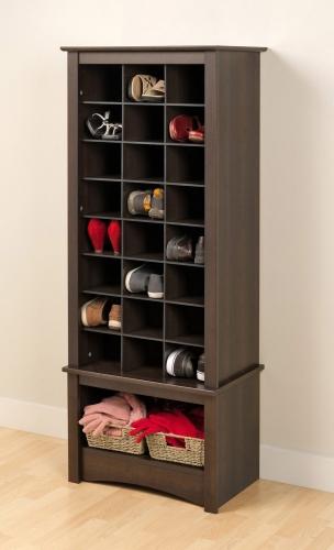 Tall Shoe Cubbie Cabinet - Espresso
