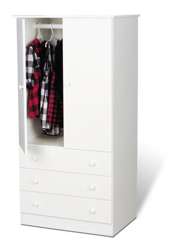Edenvale 3 Drawer Wardrobe - White