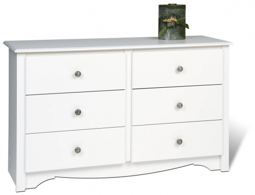White Monterey Condo Sized 6 Drawer Dresser