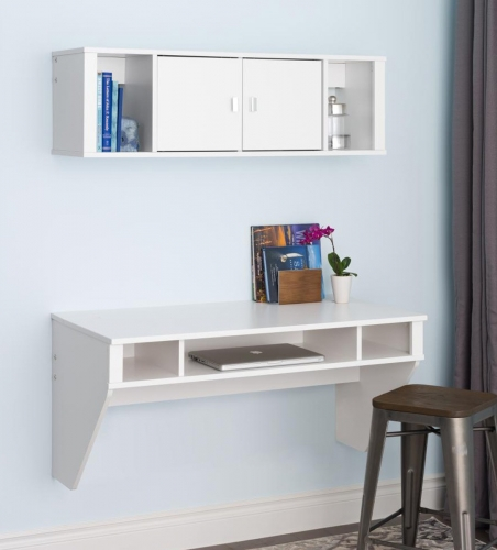 Designer Floating Desk and Hutch Set - White