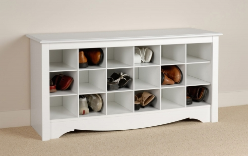 Shoe Storage Cubbie Bench - White