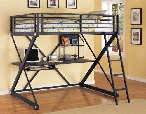 Z-Bedroom Full Size Loft Study Bunk Bed