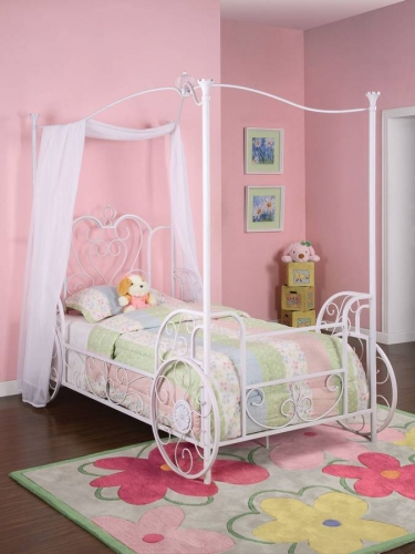 Princess Emily Shabby Chic White with Pink Sand-Through Carriage Canopy Twin Size Bed
