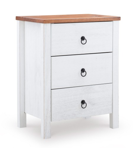 Anson 3-Drawers Chest - Rustic Oak/Distressed White