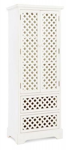 Delaney Tall Cabinet - Distressed White