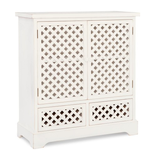 Delaney 2-Door 2-Drawer Cabinet - Distressed White