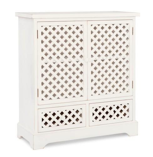 Delaney 2-Door 2-Drawer Cabinet - Distressed White
