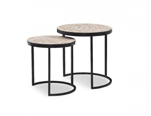 Dutson Nesting Tables - Black/Natural wood mosaic