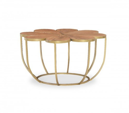 Blossom Accent Table - Natural and Gold