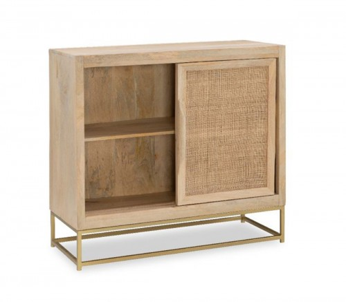 Janie Rattan 2-Sliding Doors Cabinet - Natural and Gold