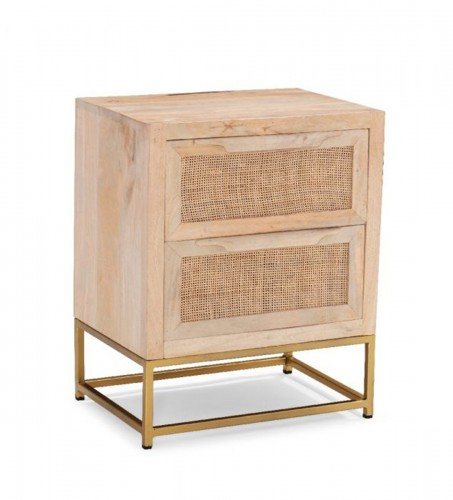 Janie Rattan 2-Drawers Cabinet - Natural and Gold