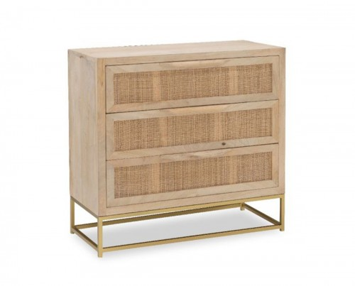 Janie Rattan 3-Drawers Cabinet - Natural and Gold