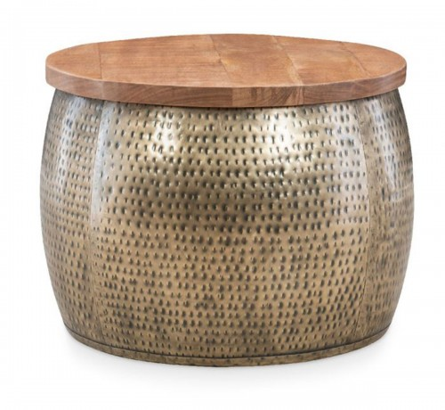 Royce Drum Table with Storage - Gold