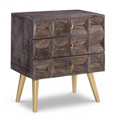 Quinn 3-Drawer Cabinet - Smokey Grey/Gold