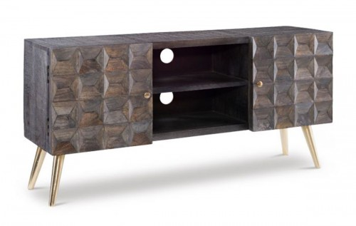 Quinn Media Cabinet - Smokey Grey/Gold