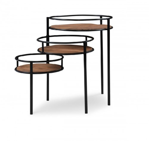 Collis 3-Tiered Plant Stand - Natural and Black