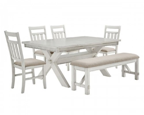 Turino 6PC Dining Set - Distressed White