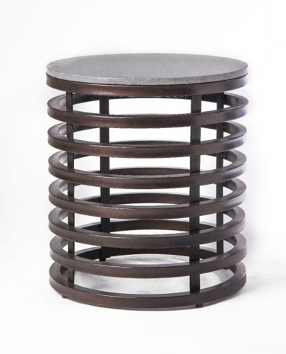 Jacques Side Table - Rustic Bronze/Grey Marble
