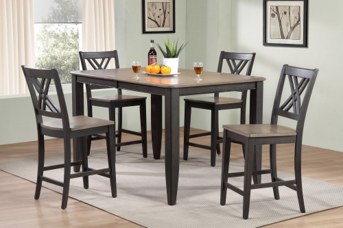 RT78 Grey Stone/Black Stone Double X- Back Counter Height Dining Set