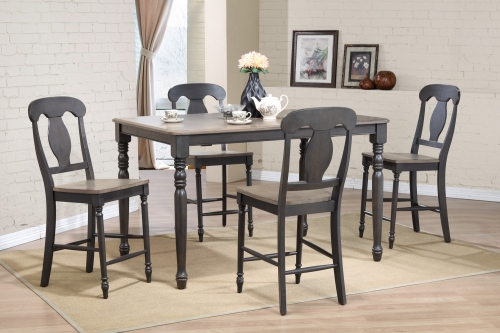 Iconic Furniture RT78 Grey Stone/Black Stone Napoleon Back Counter Height Dining Set